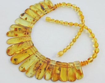 Fossil insect genuine  Baltic amber choker.