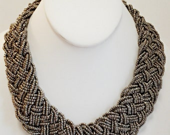 Dark Gray Braided Bib Necklace / Beaded Statement Necklace / Bridesmaid Necklace.
