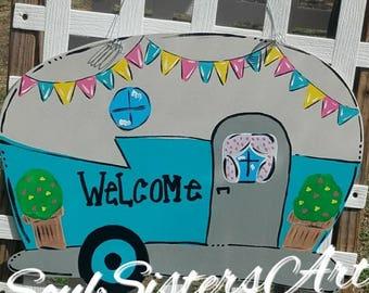 Camper door hanger, camping door hanger, welcome door hanger, spring door hanger, summer door hanger, camper wreath door hanger