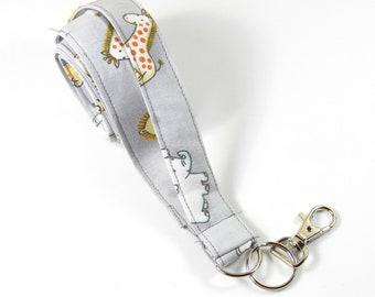 ANIMALS fabric badge holder, Giraffe badge holder, Elephant lanyard, Zoo animals badge holder, Fabric lanyard, Fabric badge holder
