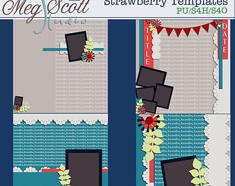 Strawberry 12 x 12 Scrapbooking Templates Commercial use Card making Scrapbook * Printable, Instant Download