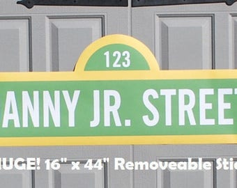 """LARGE Sesame Street Sign . Sesame Street Birthday Banner with Name . . 16"""" x 44"""" . Personalized . Printed on Removable Sticker Material"""