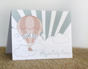 Printable thank you card - Hot air balloon party - First birthday - Child's party - Baby shower - Customizable