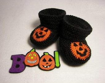 Jack-O-Lantern Halloween Pumpkin Baby Booties Newborn to 6 Months