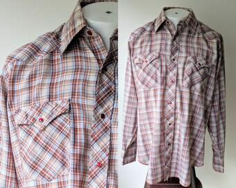 70's WRANGLER Pearl Snap shirt / Plaid  Western Shirt Size 16 neck large