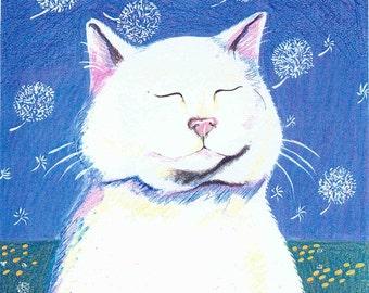 Dandelion Breeze white cat greeting card