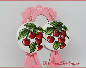 Large hand painted CHERRIES earrings-4.5 x 4.5 cm-1.7 x 1.7 inches