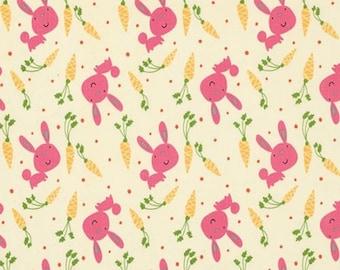 "Nursery Fabric: Garden Bunny & Carrots Grass by David Walker PINK Rabbit  100% cotton Fabric by the yard 36""x44"" (K95)"