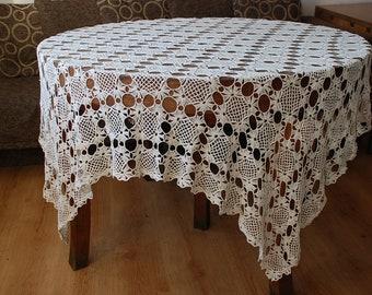 Crochet Tablecloth Linen Tablecloth Crochet Lace Linen Tablecloth
