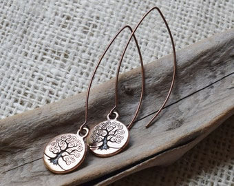 Tree of Life Earrings, Copper Loop earwires.  Pierced Ears.