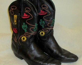 Vintage girls western cowboy boots black with sombrero cactus spur stitching sz. 6 1/2 M square toe