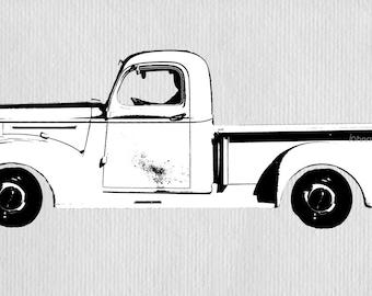 INSTANT DOWNLOAD - Vintage Pickup Truck Printable Transfer Image
