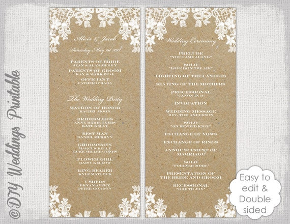 Rustic Wedding Program Template Rustic Lace Diy