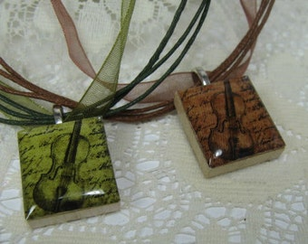 Violin Scrabble Tile Pendant Necklaces on Ribbon-Your choice of color