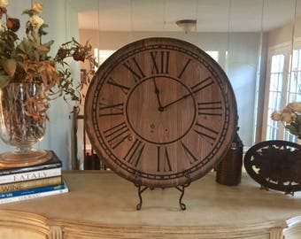 "Rustic Primitive Large 24"" Farmhouse Clock"