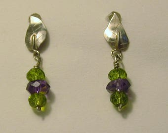 Sterling silver posts with SS leaves, peridot and amethyst drop