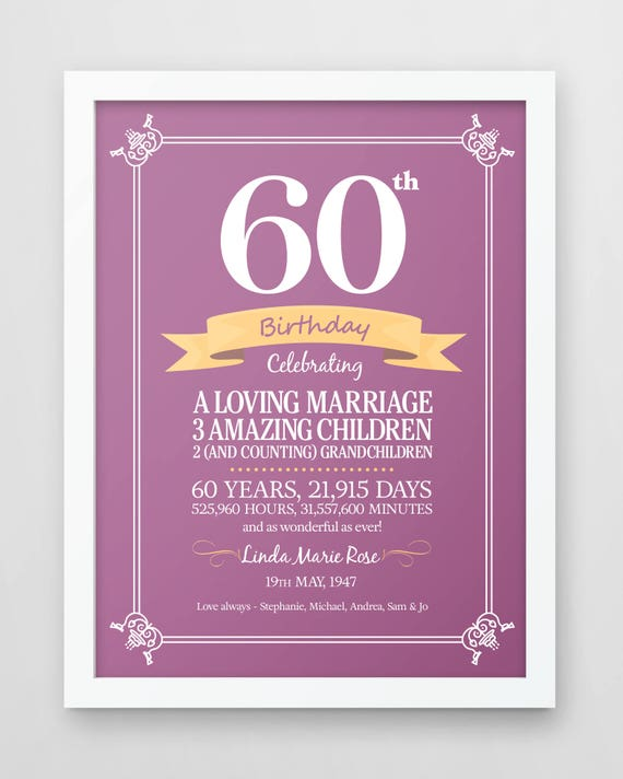 Gorgeous Personalized 60th Birthday Gifts For Her: Personalized 60th Birthday Print Sixty Years Old Gift