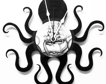 Octopus clock made from an actual vinyl record.