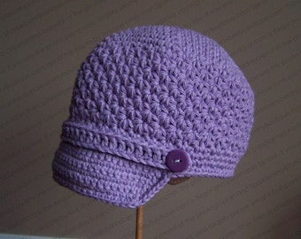 "Crocheted Newsboy ""The Ella"" Soft Violet  Brimmed Hat Skater Band/Button Accent Choose Your Size and Color"