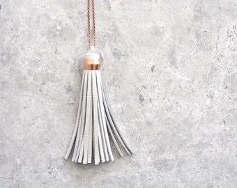 Copper and Leather Tassel Necklace, Boho Luxe Jewellery, Sister Gift