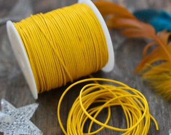 Yellow: 1mm Round Leather Cord, Genuine Round Leather,  Indian Leather, Supple Leather, Cording / Jewelry Supply, Choose your length