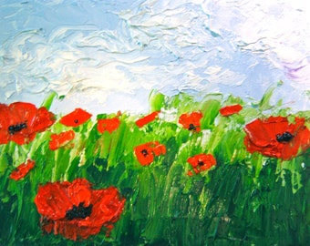 Poppies Red Impasto Original Painting-Oil Painting-Abstract-Red Poppies-Landscape-Field-Palette Knife-Ready To Hang-Poppys