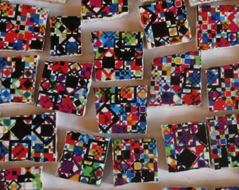 Ceramic Mosaic Tiles - Bright Colors And Black Diamond Design Mosaic Tile Pieces - 40 Pieces - For Mosaic Art / Mixed Media Art/Jewelry
