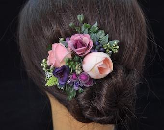 Purple hair clip Green headpiece Pink hair piece Flower in hair Flower hair clip for women Spring hair clip for daughter Spring wedding hair