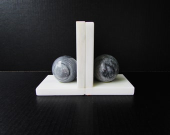 Vintage Alabaster Stone Bookends  - Grey and White Stone Bookends - Modernist Sphere Design - Mid Century Modern Bookends - Grey Alabaster