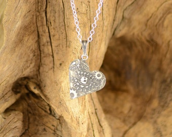 Sterling Silver Heart Necklace with Evil Eye, Silver 925 Evil Eye Pendant, Evil Eye Necklace Jewelry
