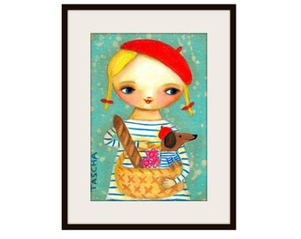 PRINT Dachshund in PARIS sweet wiener dog and girl folk art PRINT from painting by tascha