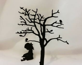 Little Girl Reading Under the Tree Die Cut Set-Frame Art-DIY Project-Card Making-Shadow Game