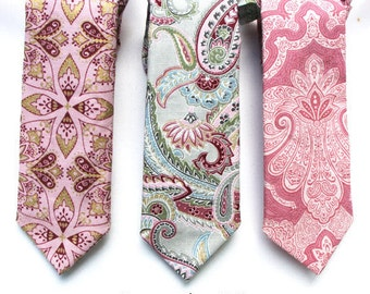 Boys Formal Wear Pink and Grey Necktie, Boys Paisley Necktie, Mens Paisley Necktie, Wedding Ring Bearer Outfit, Baby  Necktie, Boyish Charm