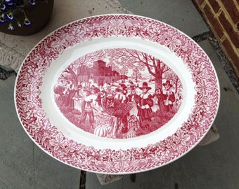 "Large Oval Platter: Homer Laughlin, ""Bountiful Harvest,"" 22 in"