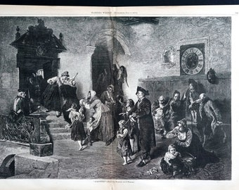Law Legal Lawyers Judge Trial 1878 ACQUITTED NOT GUILTY Verdict Courtroom  Olden Days Court Antique Engraving