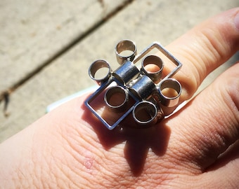 Funky Modernist Runway Silver Tone Adjustable Cocktail Ring
