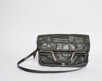 Vintage 90's Black Adjustable Real Leather Patchwork Handbag / Shoulder Bag with Metal Handles