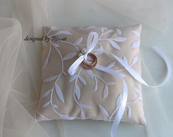 Beige wedding ring bearer pillow with white leaves and pearl-ring bearer, ring cushion, ready to ship