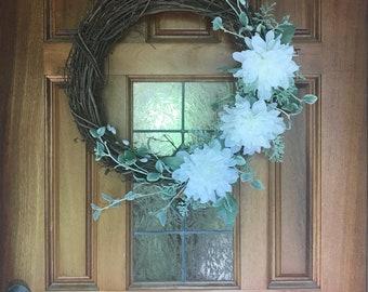 White Dahlia Faux Floral Wreath