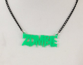 Zombie necklace Halloween necklace Costume jewelry Zombie dripping necklace Zombie pendant Zombie jewelry Green zombie necklace Halloween
