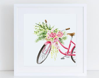 Pink Beach Cruiser with Tropical Florals Fine Art Watercolor Print