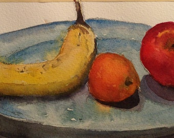 Fruit Plate, Original Still Life Watercolor, One of a Kind by Cindy Balthazor,Home Decor, Mothers Day Gift