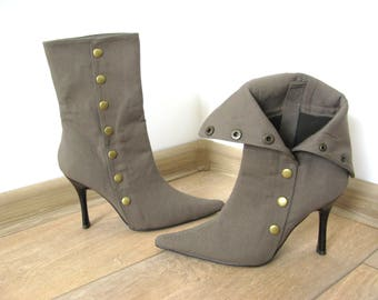 Khaki Color Fabric Rivets Fastening Heeled Boots Shoes