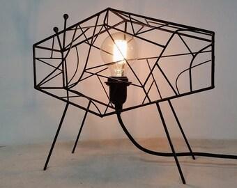Geometric Table Lamp by Cory O'Rourke Studio. Edison Globe Bulb.