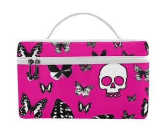 Skulls & Butterflies on Pink, Large Insulated Lunch Bag, food storage, lunch bag