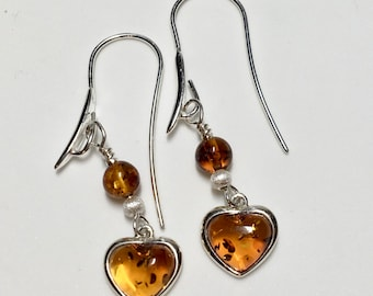 Amber Heart earrings, Oversized Shepherds hooks, Amber bead, Silver stardust bead.