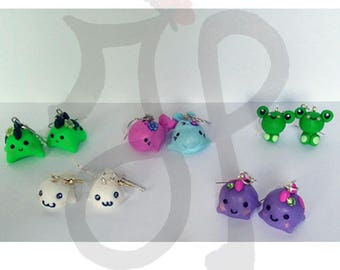 Earrings with kawaii animals
