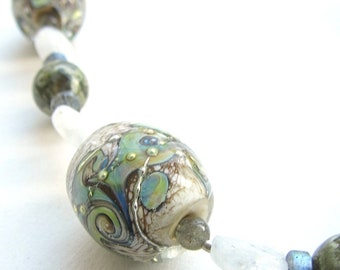 Chunky Necklace, Lampwork Glass Beads, Sea Barrel Beads, Art Glass, Terra Glass, Labradorite, Moonstone