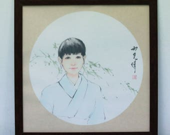 Japanese Girl Original Painting with Frame