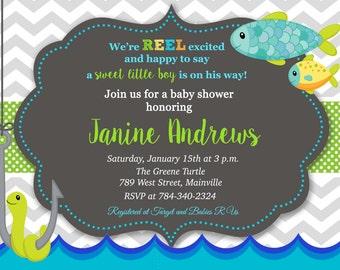 Fishing, Fish, Baby Shower, Invitation - Printable Digital File